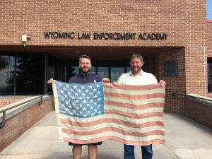 Hemp Flag in front of WY Police Academy